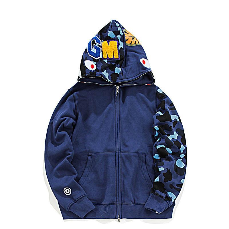 새로운 Unisex 뜨거운 ape 19bape 전체 지퍼 까마귀 스웨터 남성 상어 턱 붉은 카모 재킷 코트 캐주얼 긴 소매 까마귀 스웨터