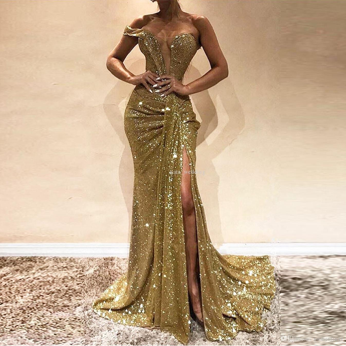 Stunning Gold Mermaid Prom Dress Leg Split Women Evening Party Wear Maxi Gowns Custom Made Sequins Sexual Lady Graduation Prom Dress Gown Dave And