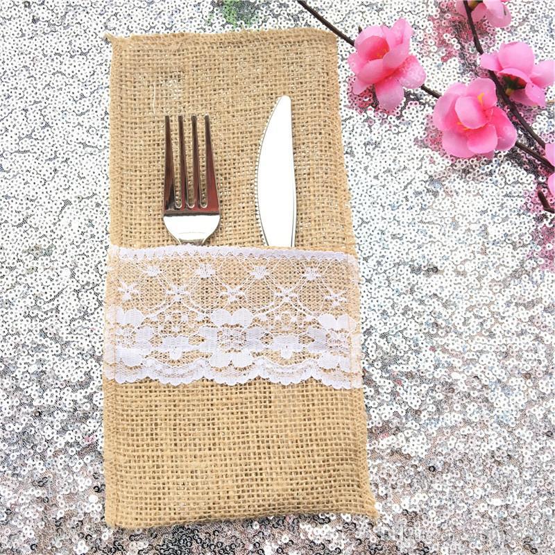 Encaje de lino Cubiertos Bolsas Vintage Cubiertos Titular Vajilla Bolsas para Fiesta Festival Banquete Decoración de la boda