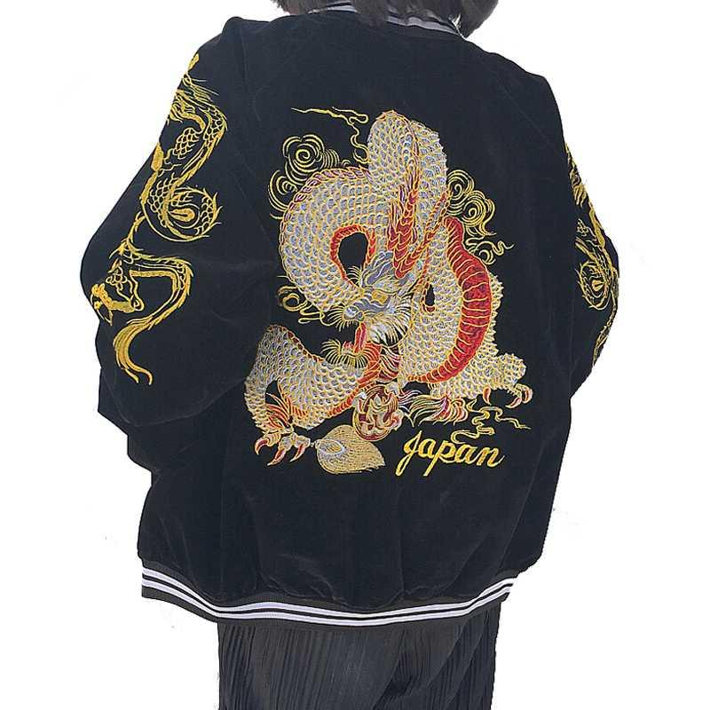 japan wind design HIGH quality streetwear baseball uniform dragon embroidered Corduroy zipper jacket women clothing outerwear