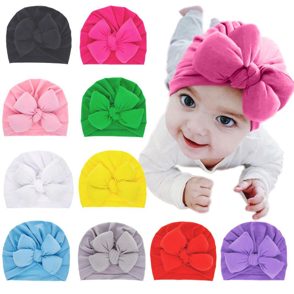 15426 New Infant Baby Bowknot Hat Child Turban Headwrap Hats Girls Children Hats Kids Cap Beanies