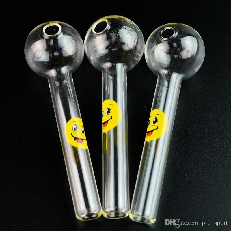 Уникальный улыбка Логотип шаблон Стеклянная труба с прямой трубкой мячем Pyrex Glass Oil Burner курительная трубка ручной Pipe труб малого диаметра