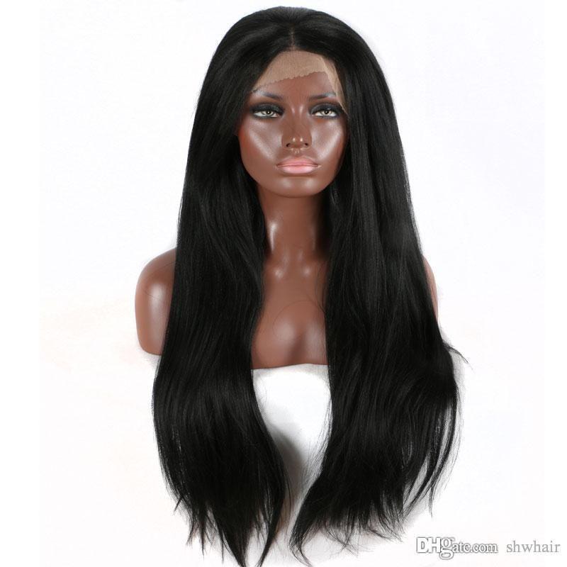Яки Синтетического парик фронт шнурок для чернокожих женщин рука связала бесклеевые Термостойких волокно длинных волос яков прямого синтетические парики Lacefront