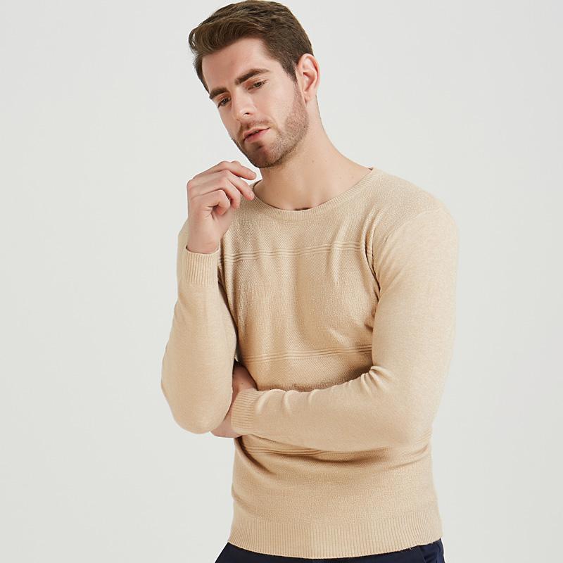 2018 beiläufig passende Pullover Männer Pullover beige feste gestreifte dünne Oansatz Pullover Mens Herbst Winter Unterwäsche stricken Trikot ziehen