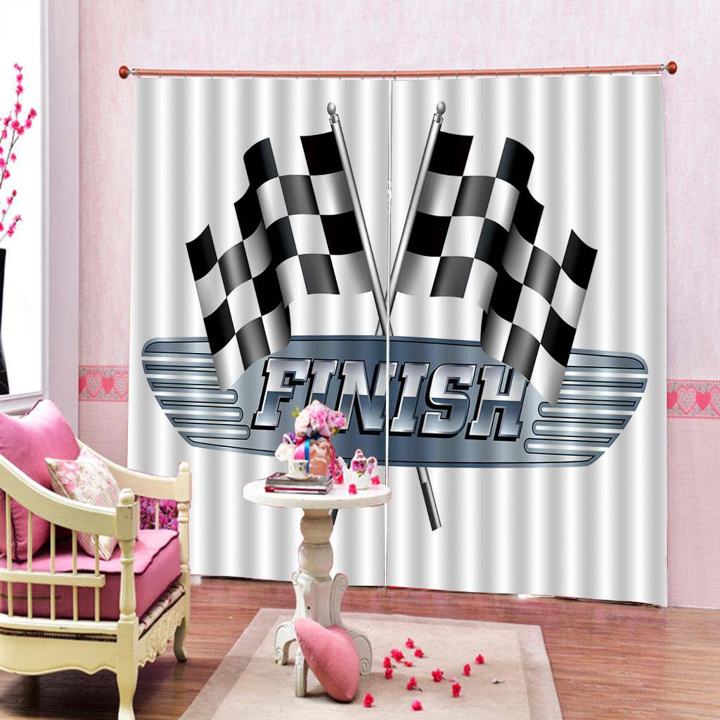 Custom 3D Curtain Black And White Square Banner Beautiful And Practical Blackout Curtains In The Living Room Bedroom