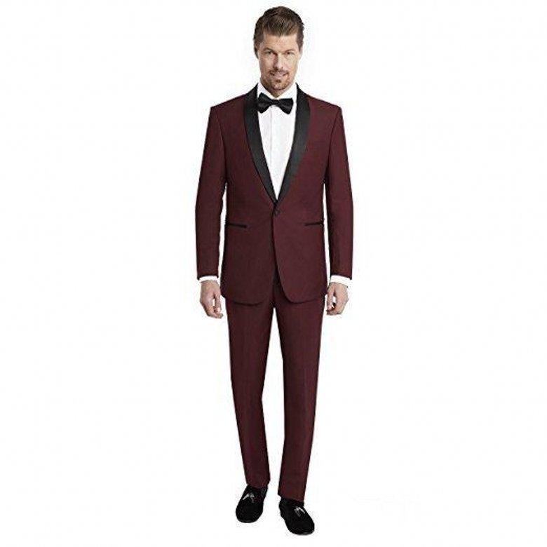 Yeni Popüler Bir Düğme Burgonya Düğün Erkekler Suits Şal Yaka İki adet İş Damat smokin (Ceket + Pantolon + Kravat) W1266