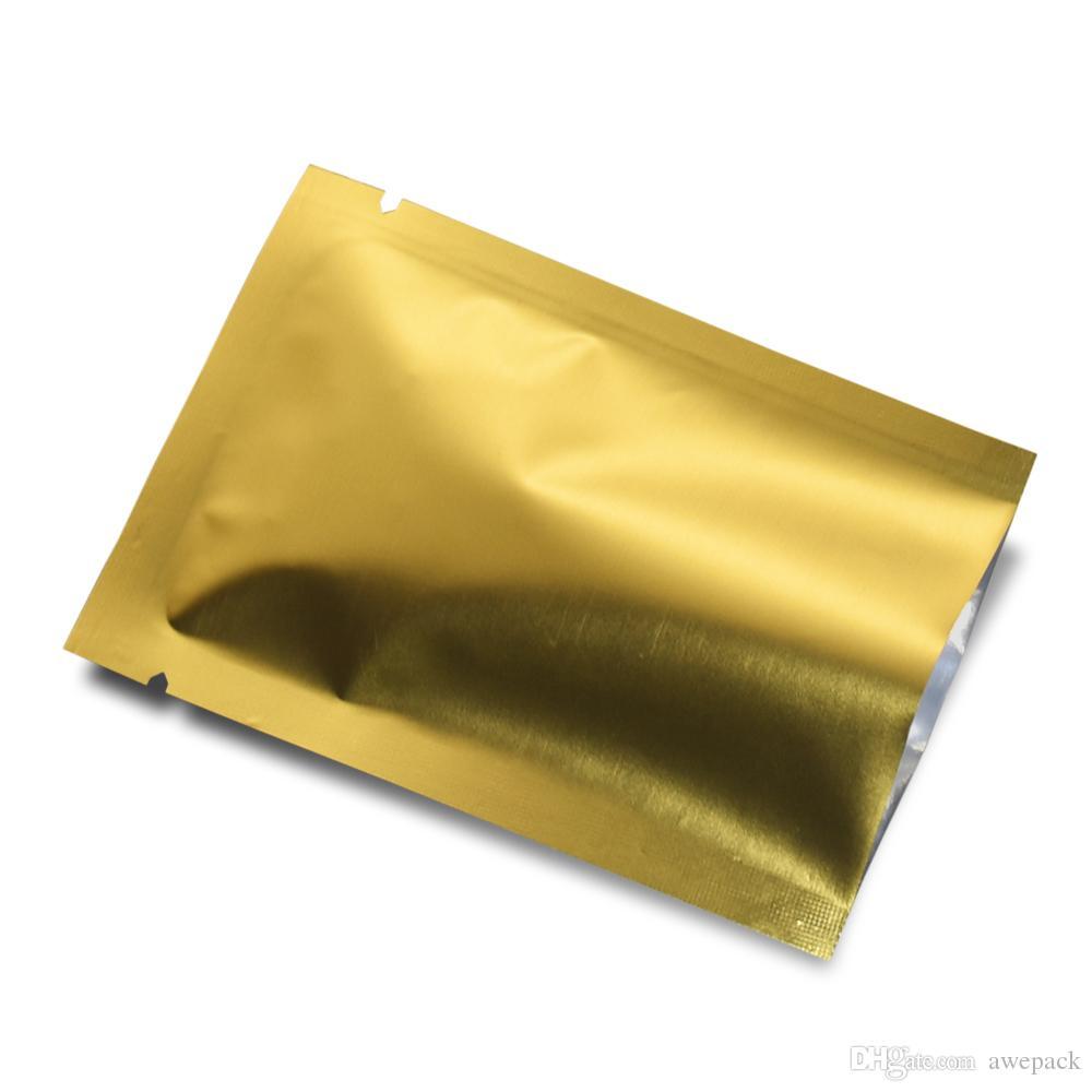 200 pezzi sigillo di calore oro opaco sacchetto di alluminio aperto pacchetto superiore sacchetto spuntino cibo caramelle sacchetti di imballaggio cosmetici maschera sacchetto sottovuoto sacchetto del sacchetto