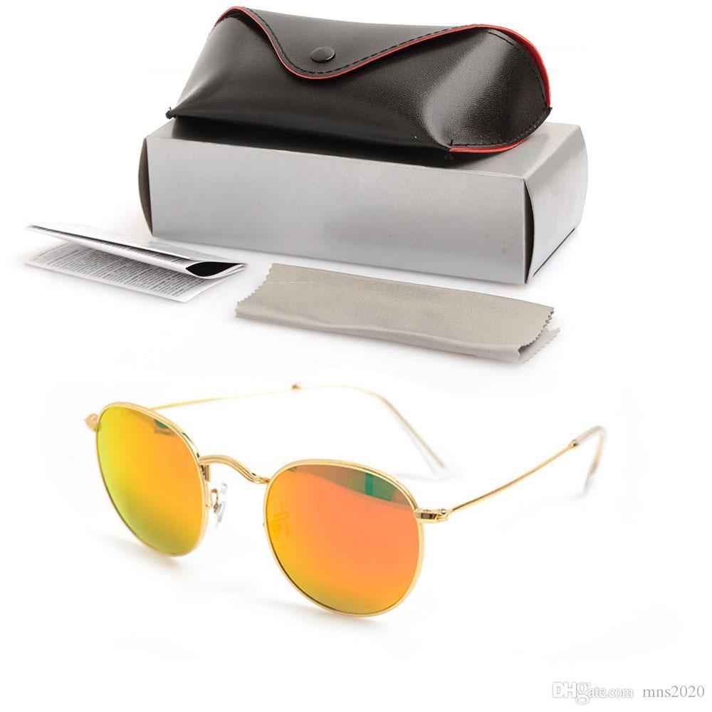 جديد جولة نظارات شمس رجل مرآة الشمس glassess العلامة التجارية مصمم النظارات عدسة زجاجية للمرأة نظارات uv حماية نظارات مع حالات صناديق