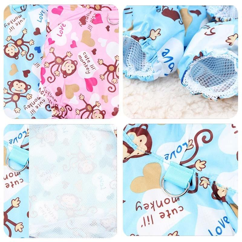 Cute Dog Raincoat Pet Raincoat For Dogs Cats Monkey Printing Breathable Puppy Rain Coat Hoody Suit PEVA Waterproof Dog Clothes Dog Apparel