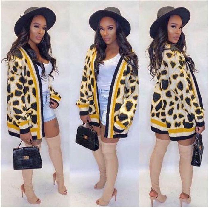 متماسكة سترة الأزياء الشريط الاصفر ليوبارد طباعة مصمم سترة فضفاضة كم طويل Famale الملابس الشتوية للمرأة