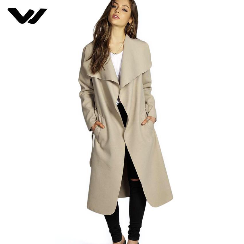 2018 Cappotto invernale Donna Larga cintura con risvolto Tasca in misto lana Cappotto oversize Lungo Rosso Trench Outwear Lana Donna