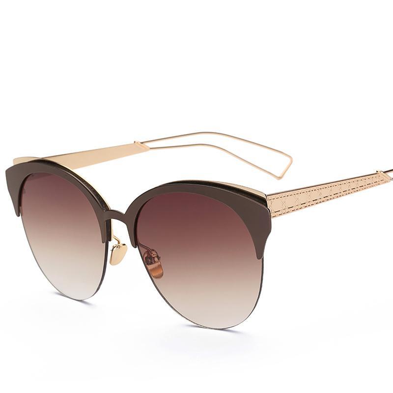 espelho retro moda- 2017 óculos de sol do olho de gato Oversized mulheres do vintage sunglases óculos de sol cateye para tons das mulheres vermelhas metade borda rosa