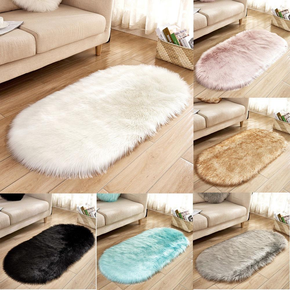 2019 Hot Sell New Faux Fur Fluffy Sheepskin Rug Balcony Oval Rectangle Floor Carpet Bedroom Mat