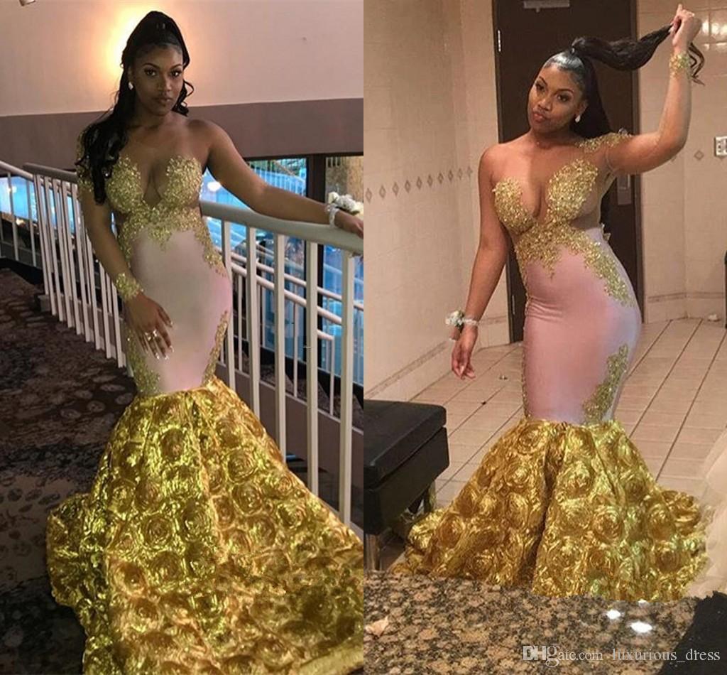 2019 sirène robe de soirée avec 3D Rose fleur floral fond une épaule sexy en dentelle d'or Applique africaine Fishtail bal Robes de robe formelle
