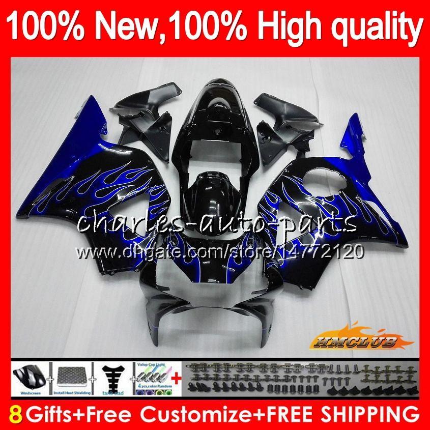 Carrosserie voor Honda CBR954RR Blue Flames Nieuwe CBR900RR CBR900 CBR954 RR 02 2003 77HC.5 CBR 900CC 954 900 CC RR CBR 900RR 954RR 2002 03 FUNLING