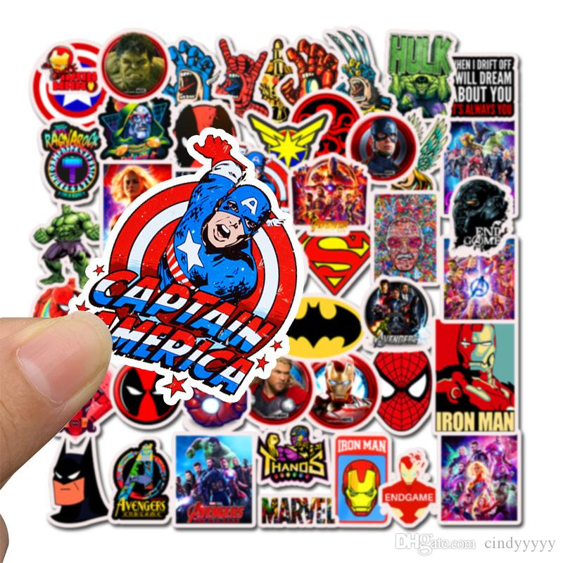 50Pcs/Lot Marvel Anime Classic Stickers Toy For Laptop Skateboard Luggage Decal Decor Funny Iron Man Spiderman Stickers For Kids Car sticker