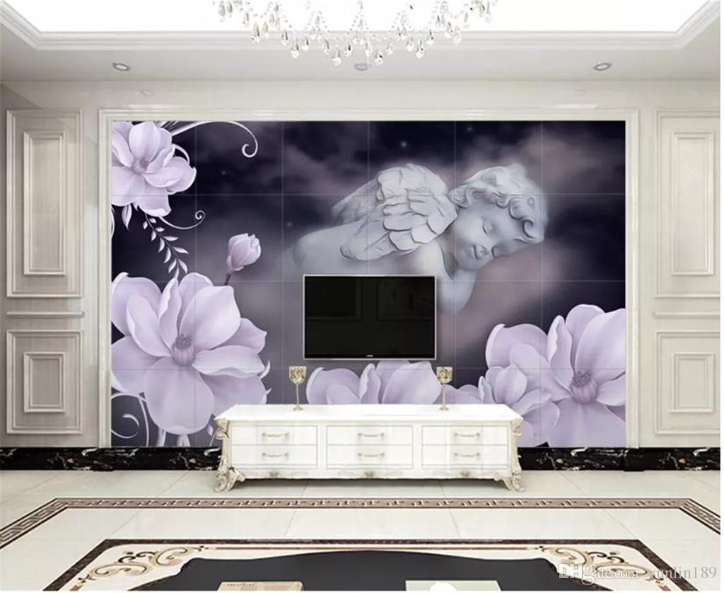 Custom Wallpaper 3d European 3d Floral Angel Background Wall Paper