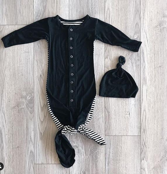 Newborn Baby Infant Stripe Swaddle Sleeping Bag Sack Wrap Hat Set Photoprop 0-6M