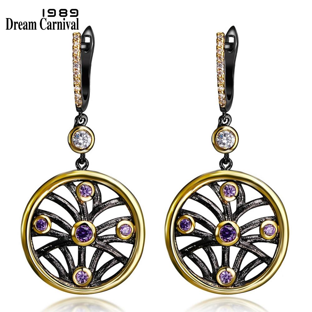 Dreamcarnival 1989 Worldwide Delivery Circle Hohl Anhänger Frauen Ohrringe Schwarz Gold Farbe Lila Cz Anniversary Jewelry J190702