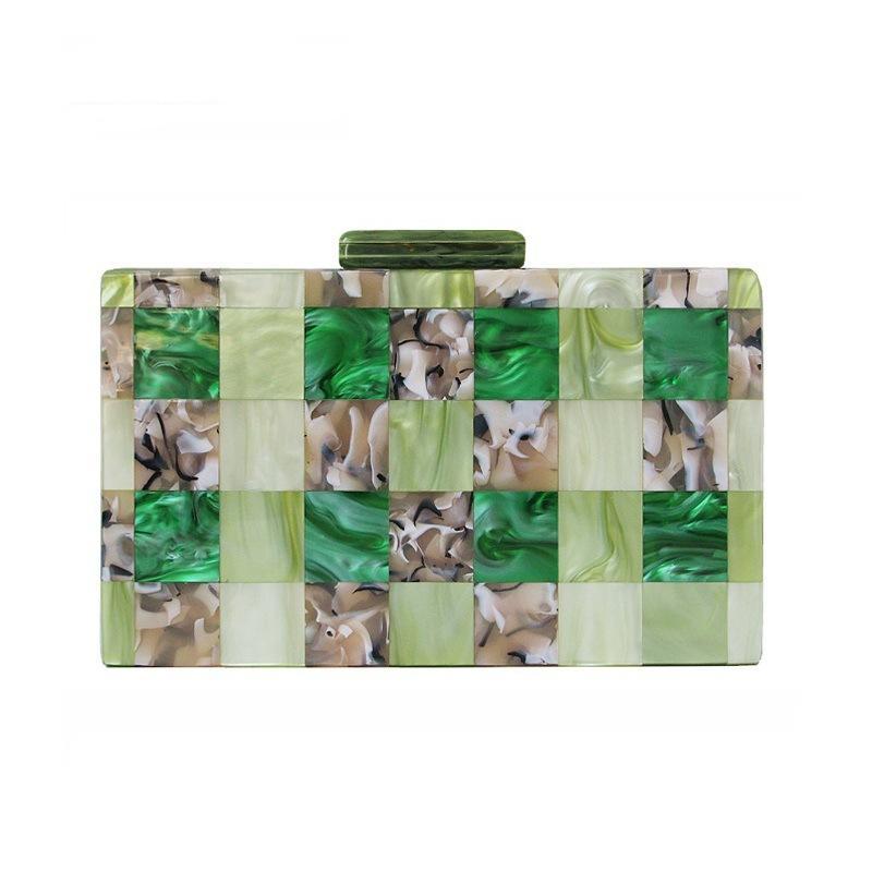 Designer-Fashion Women multi-color Patchwork Green Acrylic Evening bag fashion Party wedding dinner hand bag Purse bolsas feminina