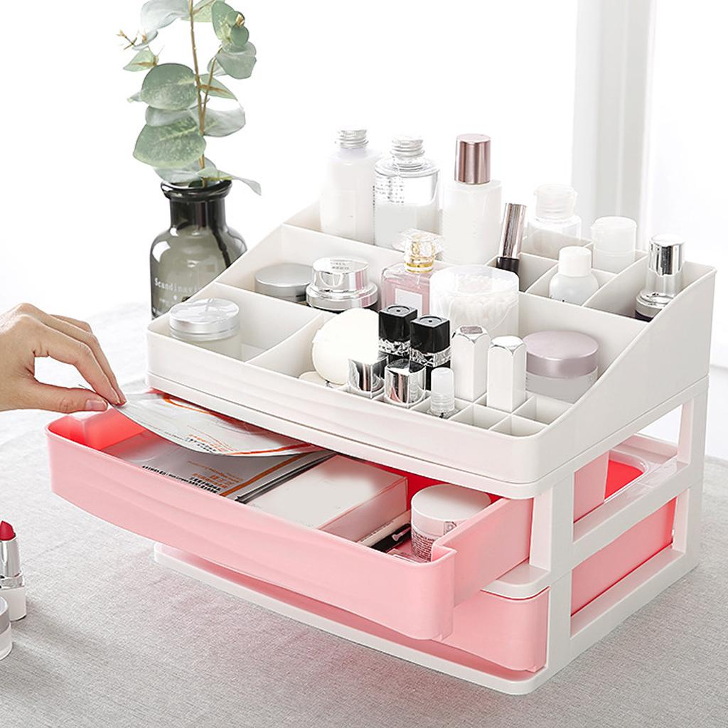 Dressing Table Makeup Organizer Plastic Cosmetic Drawer Jewelry Container Box DIY Storage Case Nail Casket Holder Bathroom