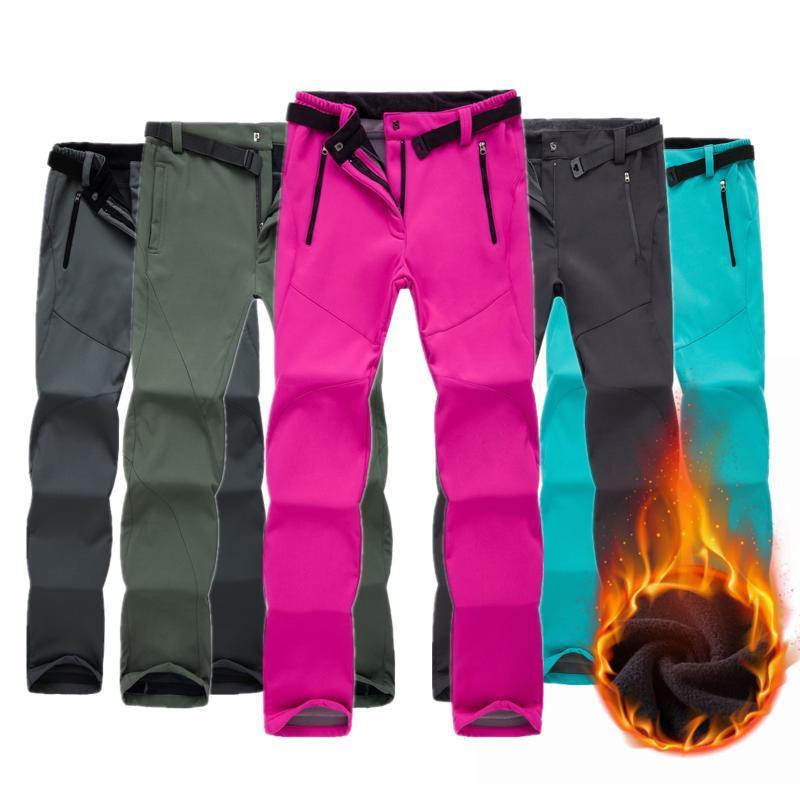 Pantalones al aire libre Mujeres de invierno Fleece impermeable a prueba de viento Softshell grueso Pantalones cálidos Pesca femenino Camping Senderismo Skiing CYF201
