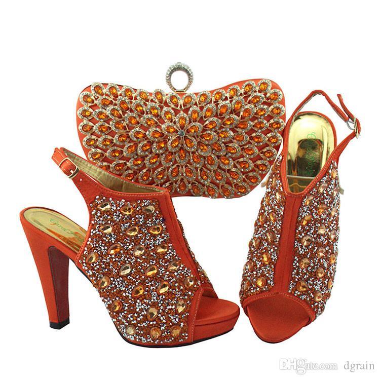 2019 Hohe Qualität Afrikanische Hochzeitsgesellschaft Kleid High Heel Schuhe Und Passende Taschen