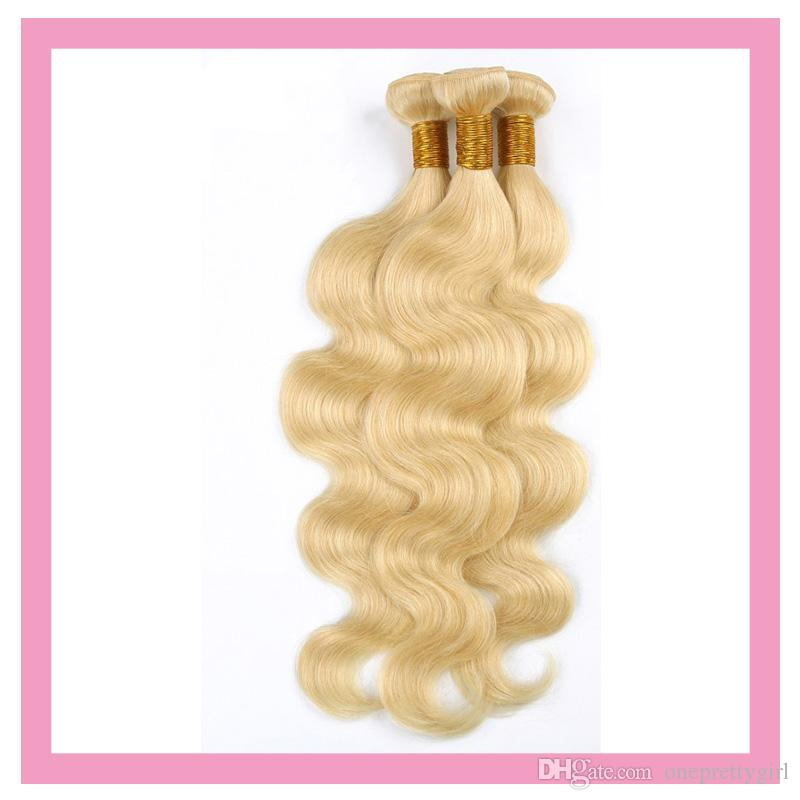 Brazilian Virgin Hair 613# Color 3 Bundles Body Wave Human Hair Extensions 3 Pieces/lot 613 Blonde Color 3 Pieces