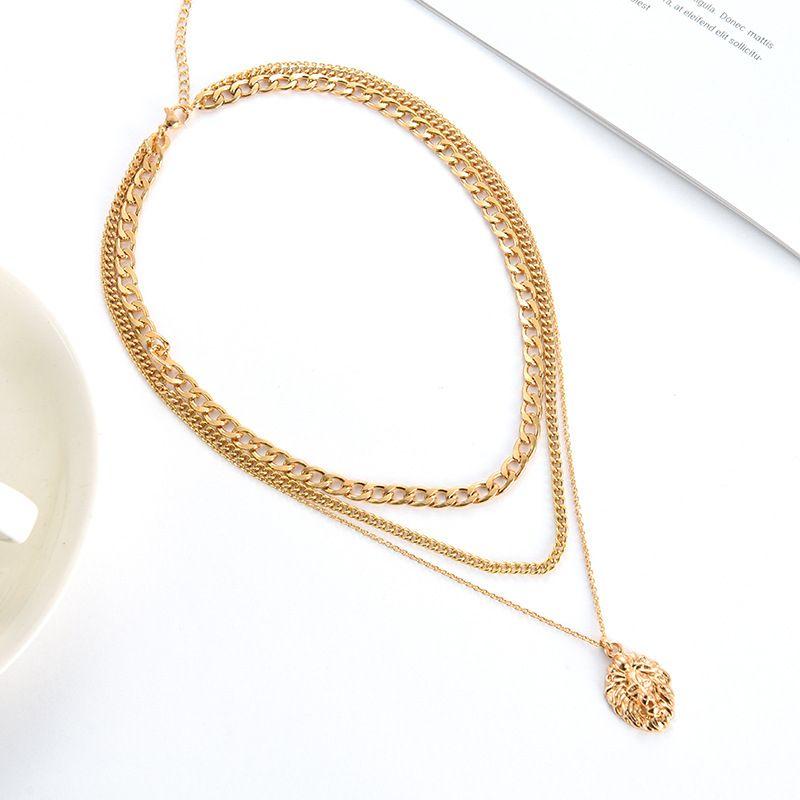 Cercle pendentif tête de lion médaillon rond collier chaîne collier de charme de lien pour hommes