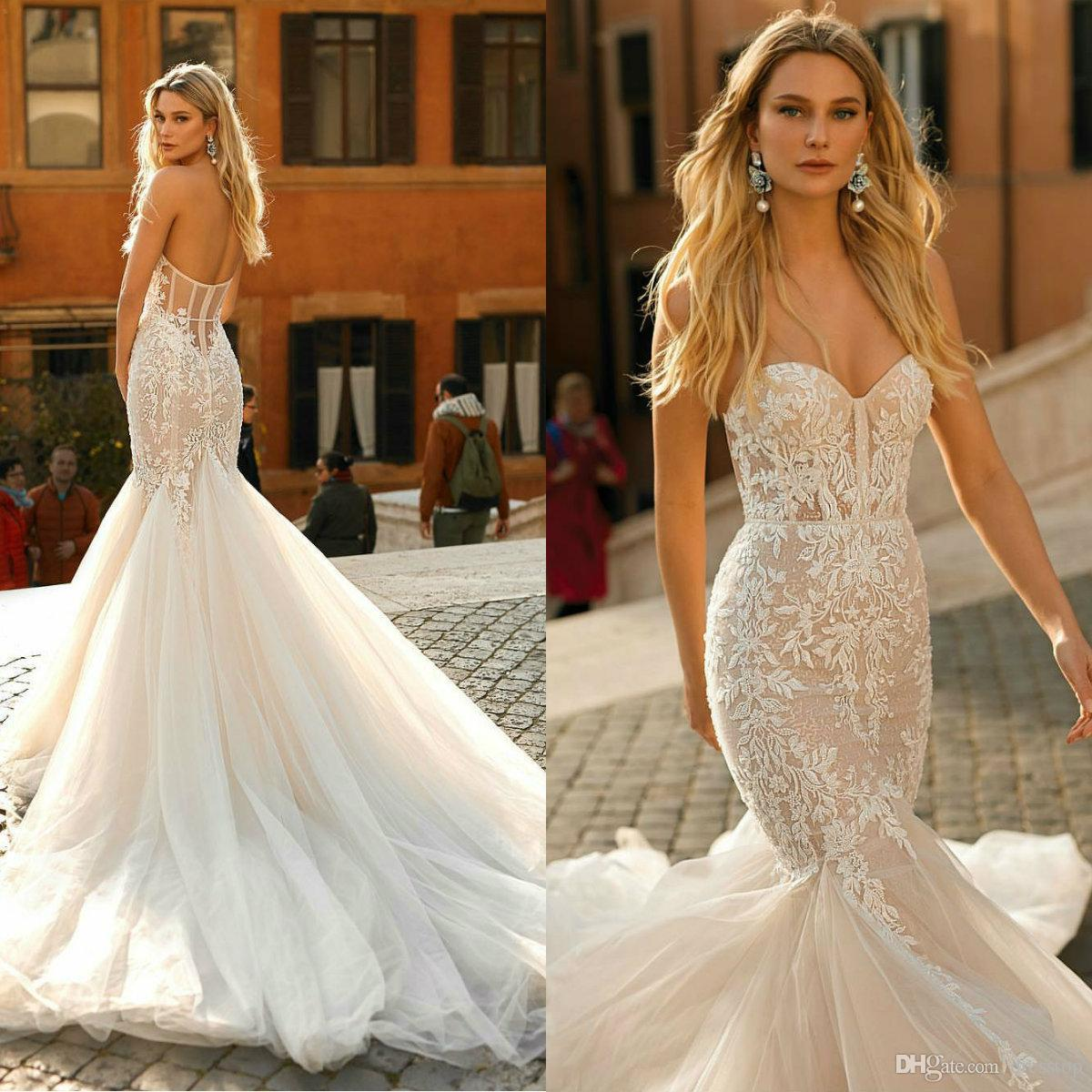 Discount Berta 2020 Mermaid Wedding Dresses Sweetheart Lace Sexy Backless Bridal Gowns Sweetheart Tulle Sweep Train Beach Wedding Dress A Line Wedding A Line Wedding Dresses Pinterest From Dresstop 144 94 Dhgate Com