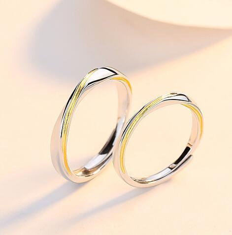 Mobius Anillo de plata esterlina s925 pares del anillo de larga distancia de tarjeta del día de apertura de la personalidad Día joyería del anillo Un Conjunto De Hombres Y Mujeres de