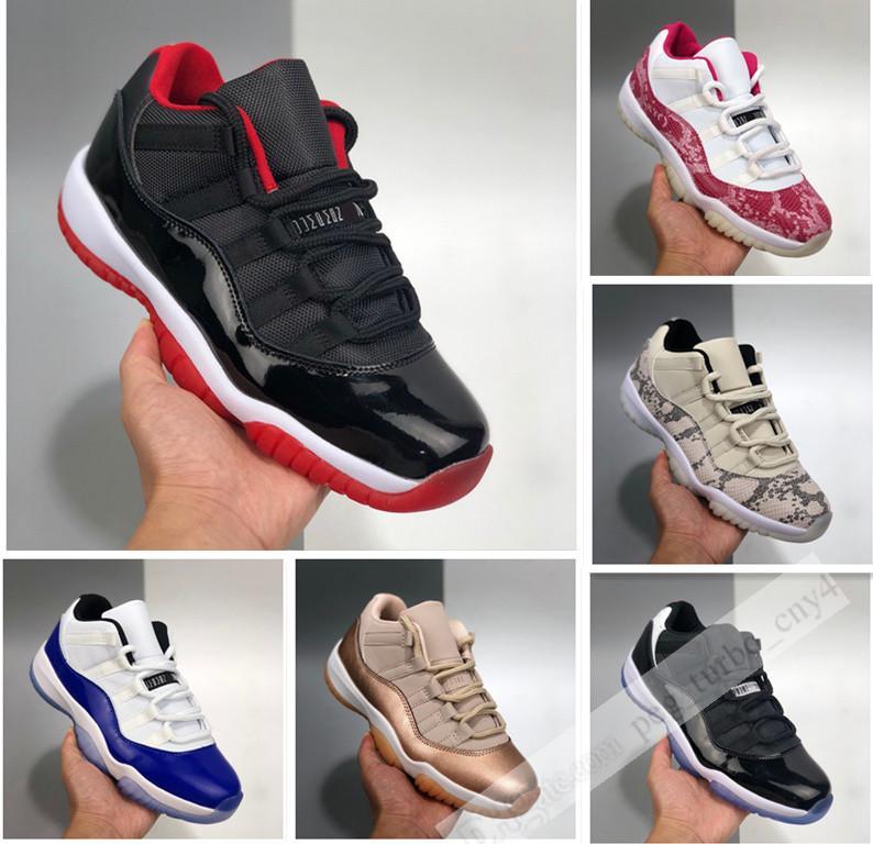 11'ler erkekler kadınlar Pembe Yılan gece yarısı donanma erkek spor ayakkabısı çalıştırıcı için kırmızı concord düşük siyah beyaz 11 Basketbol Ayakkabı Bred