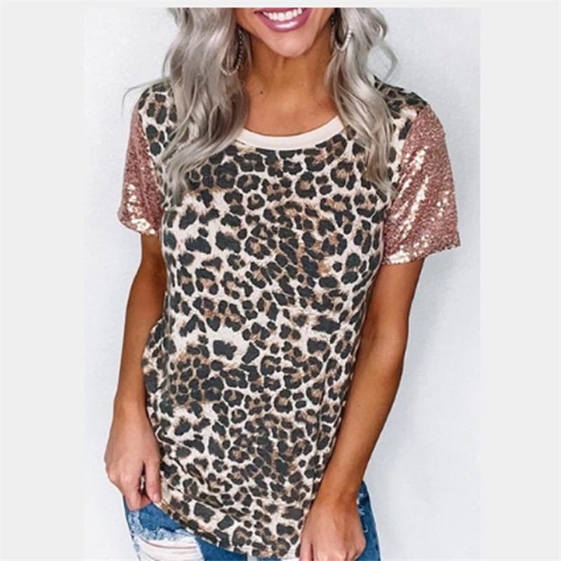 Paillettes Leopard Femmes T-shirts d'été à manches courtes T-shirts occasionnels Designer Femmes classique Femmes Mode Slim T-shirts