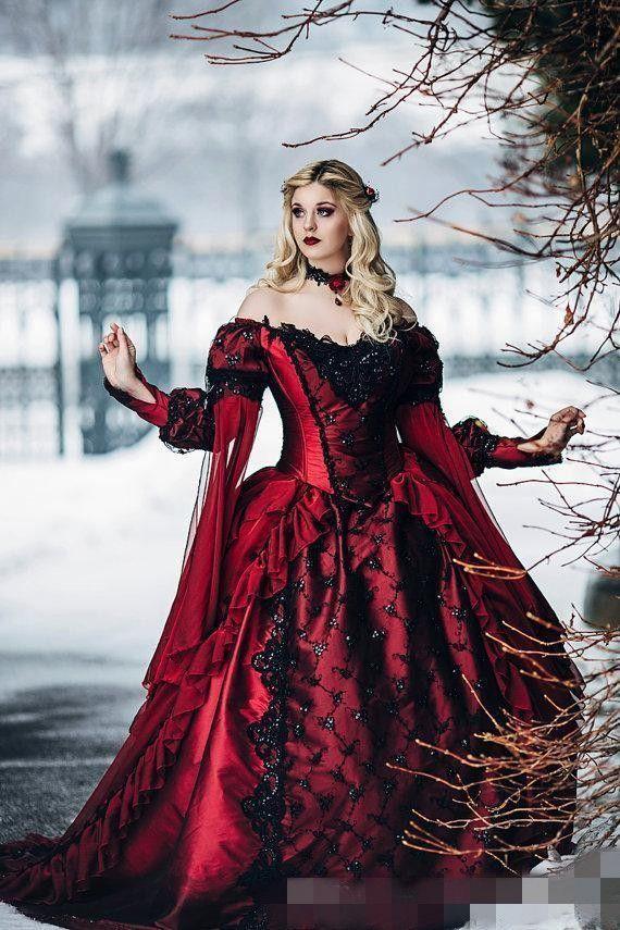 Robes de mariée gothique Bourgogne Long Juliette Manches de Juliette Noir Dentelle Applique Peauches Volants De Deep Off Ops Robe de mariée sur mesure