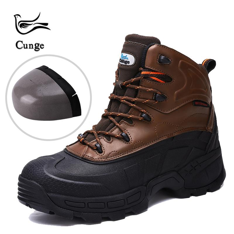 cunge Открытый новых людей стали носком Безопасность Рабочая обувь Мужчины проколам Строительство Безопасность Combat Boots Cowhide походные ботинки