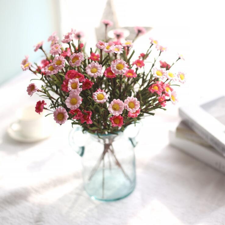 Falsa seda de la flor de la margarita de las flores artificiales Ramo Flores Artificiales Para Decoracion Hogar secada florece decorativo para la boda LXL395-A