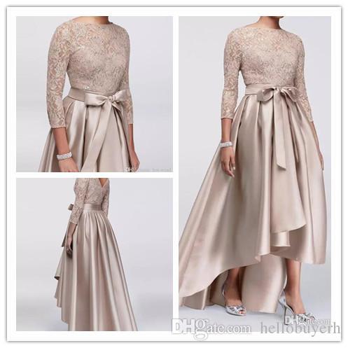 신부 드레스의 세련 된 높은 낮은 어머니 결혼식에 대 한 라인 새틴 어머니의 드레스 저녁 착용 레이스 Sequined 긴 소매