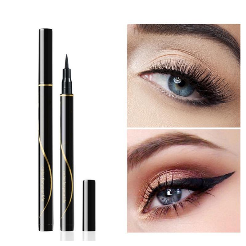 Negro Delineador de ojos a prueba de agua a prueba de manchas Larga duración del maquillaje desteñible Liquid Liner Delineador de ojos pluma para la belleza de los ojos