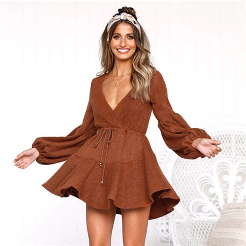 Сексуальная V шеи женщин платье дизайнер слоеного рукав свитер платья повседневная сплошной цвет платье для женщин