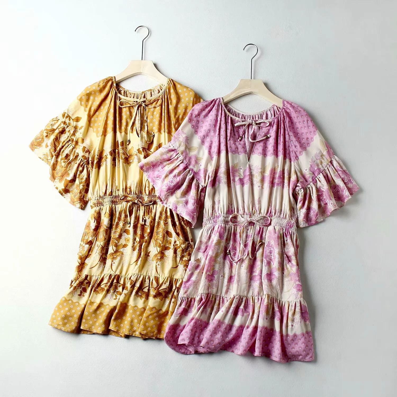 2020 Summer floral de Boho Playdress mujeres vacaciones impresión floral de Bohemia vestido FLUTTER MANGA bolsillo elástico de la cintura amarrar vestidos atractivo de la vendimia