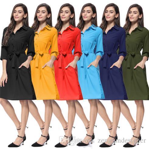 Designer Womens Outono cor sólida Shirts Vestidos lapela pescoço Sete Luva OL estilo de roupa Feminino Sashes Moda Vestuário Casual