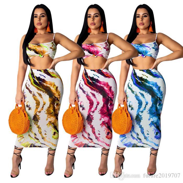 Femmes Survêtement bretelles spaghetti imprimé Crop Top + Jupe moulante Midi Casual deux pièces Set Tenues de fête du Club