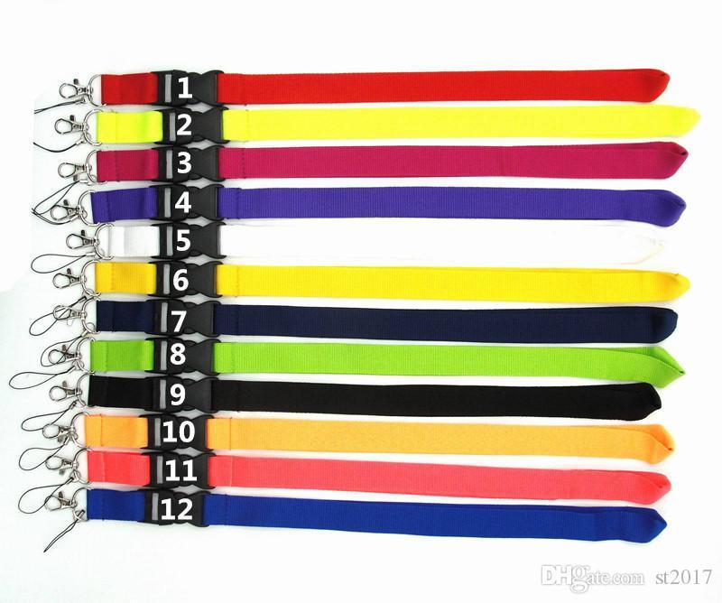 12 colores Lanyard en blanco disponible Correa para el cuello tarjeta de identificación para celular Cadena del teléfono móvil Llaveros Cadena para el cuello DHL