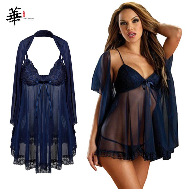 Frauen 3pcs / Sätze reizvolle Wäsche-transparente Nachthemd Porno Erotik Unterwäsche Babydoll Sexy Kostüme Plus Size 6XL CY200512