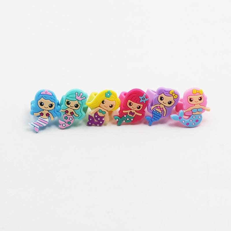 6pcs sereia suave cola anel kids toy party decorações decorações de festa de aniversário crianças sereia partido baby shower decoração. Q