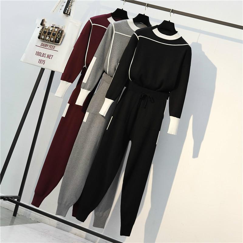 Plus Size-Qualitäts-Frauen-Strickjacke Hose 2 Stück-Satz 2019 Frühling Grau Strick Sporty Sweater + beiläufige Spur Hosen Anzüge 4XL