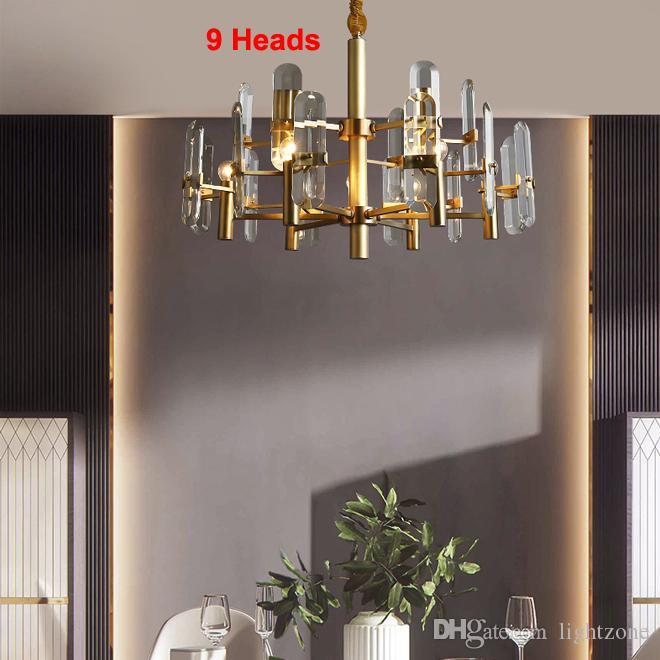 Novo design contemporâneo high-end luzes cobre lustre lustres de cristal lâmpadas de iluminação pendant ajustável para estar quarto quarto