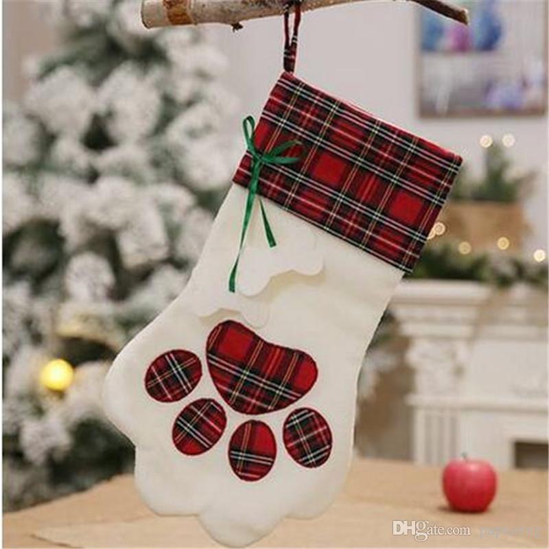 2018 Free shipping Wholesales Plaid Christmas Gift Bags Pet Dog Cat Paw Stocking Socks Xmas Tree Ornaments