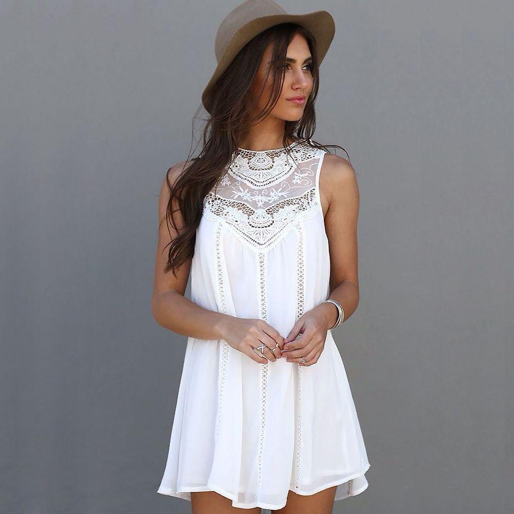 Señora de las mujeres de Boho del verano imprimió a floja ocasional adelgaza el vestido blanco corto de encaje sin mangas Vestido de tirantes