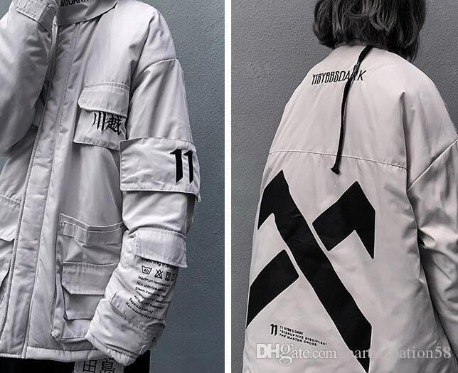 Streetwear Parkas pour hommes / femmes Cargo poches multiples Thicken Préchauffage Vestes d'hiver Manteau Homme coupe-vent